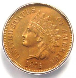 1876 Indian Cent 1C Penny Coin - Certified ICG MS65 BN - Rare Date - $618 Value!