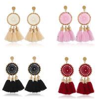 Ladies Women Boho Bohemian Tassel Fringe Drop Hook Fashion Statement Earrings
