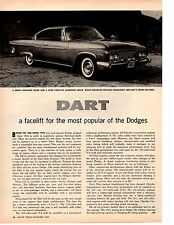 1961 DODGE DART ~ ORIGINAL 2-PAGE NEW CAR PREVIEW ARTICLE / AD