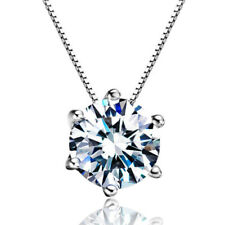 925 Sterling Silver 8MM Natural Zircon Pendant Necklace Womens Birthday Gift
