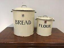 More details for superb large enamel prince of wares vintage bread bin with matching flour bin