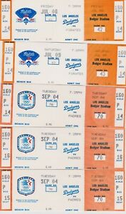 "1983 &1984 ""OLYMPIC & 25th  ANNIVERSARY LOGO"" LA DODGERS  FULL  TICKETS--GROUP 2"