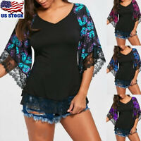 Womens V Neck Lace Short Sleeve Tunic Tops Shirts Casual Floral T Shirt Blouse