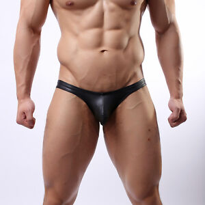 Mens Black Faux Leather Brief  -  Gay/Straight - new - all sizes - C3