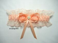 Luxury Peach Pink Embroidered Tulle Lace Bridal Wedding Garter. Gracefulgarters