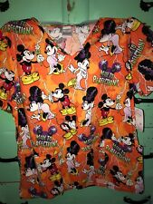 NWT Mickey & Minnie Mouse Halloween Scrub Top Made To Perfection Large Cute!