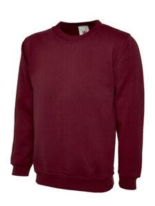 Unisex Plain Sweatshirt Jumper Pullover Burgundy Pack of 3 £9.99