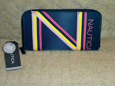"""NWT NAUTICA Zip Around Wallet Navy Blue Rainbow """"N"""" Tom Buoy RFID $49 MSRP"""