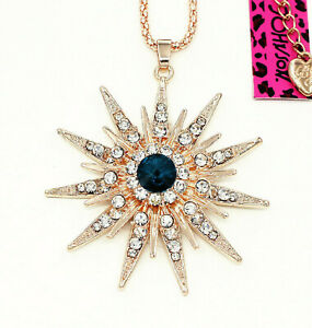 Betsey Johnson Blue Crystal Star Rose Gold Pendant Charm Necklace Free Gift Bag