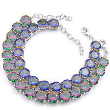 2 Pcs 1 Lot Round Cut Natural Rainbow Fire Topaz Gemstone Silver Charm Bracelets