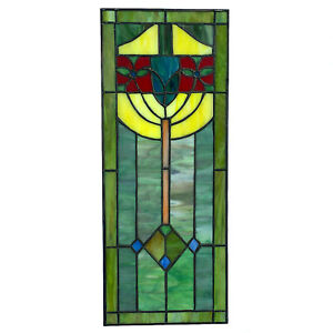 Stained Glass Window Pane in Hand Made Leaded Glass w Art Deco Pattern Medium