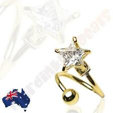 316L Surgical Steel Gold Ion Plated Twist Bar With Clear Star Gem