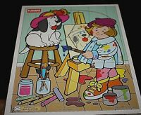 Playskool Wood Puzzle Artist w/ Dog 5 Pcs Playschool Toddler Preschool   -RM #
