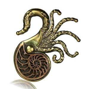 Ohrgewichte Piercing Octopus Brass Antique Golden Copper Rotgolden Nautilus
