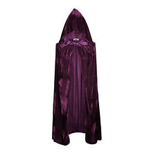 Medieval Vampire Velvet Hooded Cloak Wicca Long Robe Halloween Witch Larp Capes