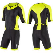 New 2XU Men X-Vent Full Zip Sleeved Trisuit Triathlon Tri Suit Black Lime XS