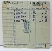 HOTEL McALPINE, Broadway at 34th St., New York City 1940 Receipt 3 Night Stay