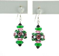 """""""IAJ"""" STERLING SILVER Earrings w/ BLACK GREEN PINK LAMPWORK BEADS SWAROVSKI CRYS"""