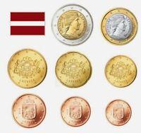 LETONIA SERIE EUROS 2014  -  8 VALORES DE 1 CENT A 2 EUROS SIN CIRCULAR