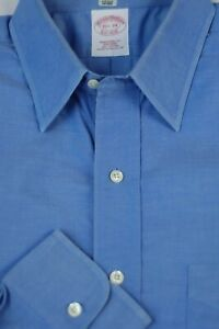 Brooks Brothers Men's French Blue Pinpoin Non Iron Cotton Dress Shirt 15.5 x 34