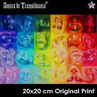 art painting figures woman portrait rainbow original paint prints home decor set