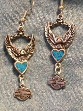 Silver HD 'Eagle w/ Turquoise Heart' earrings- biker * harley* motorcycle