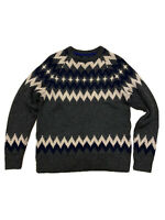 Boden Men's Fair Isle Nordic Scandi Wool Mix Jumper Grey Blue Medium