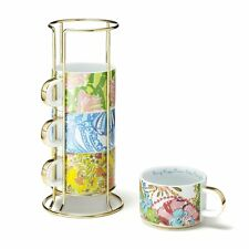 NWT Lilly Pulitzer Target Mugs Coffee Espresso Cups Ceramic with Gold Caddy NEW