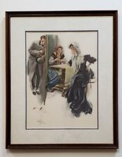 """1904 Harrison FISHER Victorian YOU WILL MARRY A DARK MAN FORTUNE TELLING 21""""x18"""""""