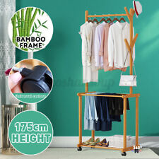Portable Rolling Garment Clothes Rack Stand Wood Pants Shoes Bench Heavy Duty US
