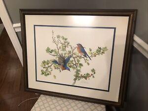 Original Sallie Ellington Middleton Limited  Edition Color Blue Birds Print Rare