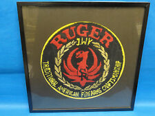"""Huge Vintage 50s Ruger Emblem Logo Embroidered Wall Plaque ~ 15"""""""