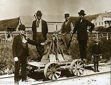 Vintage Railroad Hand Car Antique Pump Car With Railroad Crew Derbys Little Boy