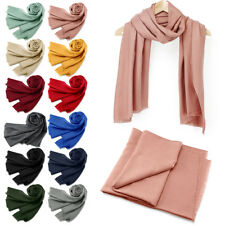 dc335b582b16 Womens Cashmere Feel Scarf Long Warm Scarves Wrap Solid lady Winter Shawl  Stole