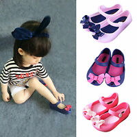 Toddler Kids Girls Soft Sandals Slip On Flat Comfort Casual Bowknot Jelly Shoes
