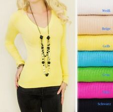 Damen Feinstrick Pulli Pullover Strickjacke Sweater Shirt Cardigan Jacke S M L