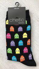 Ladies/Girls Black Multicoloured Pac-Man Cotton Ankle Socks
