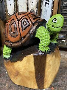 TURTLE Chainsaw Carving WALNUT Wood Tortoise Sculpture ORIGINAL Folk Artwork