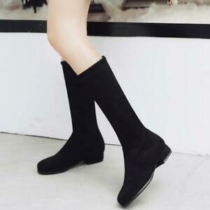 Plus Size 34-52 Women's Suede Stretch Boots Flat Low Heel Pull On Mid Calf Boots