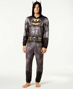 NWT Men's Batman Arkham Hoodie Costume Jumpsuit Union Suit Pajamas S M L XL