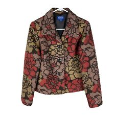 Womens Pendleton Wool Blend Floral Blazer Equestrian Size Medium Petite Euc