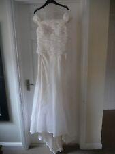 Ivory Wedding Dress off Shoulder Ruched Bodice Satin Train Size 12 Bridal Gown