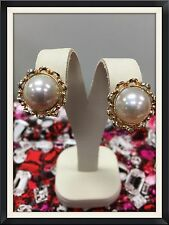 14 KARAT PINK GOLD EARRINGS 13MM MABE PEARL OMEGA BACK CLIPS 7.7 GRAMS