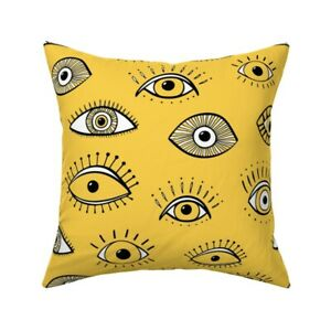 Yellow Eyes Abstract Funky Throw Pillow Cover w Optional Insert by Roostery