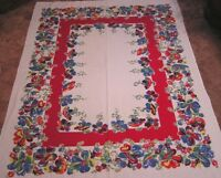 Vintage Cotton Tablecloth Multi Color Garden Flowers Red Blue Green Yellow WOW!