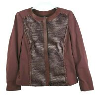 Lafayette 148 New York Women's Size 10 Leather Trim Stretch Jacket Blazer FLAW