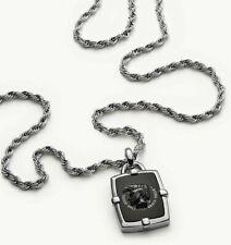 NIB Diesel Men's African Black Agate Pendant Necklace DX1174040