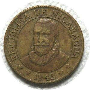 elf Nicaragua 10 Centavos 1943 Philadelphia Mint WWII Mountains Sunrise
