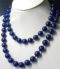 Long 36'' Natural 8mm Dark Blue Egyptian Lapis Lazuli Round Gems Beads Necklace