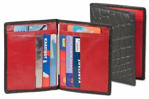 Echt Leder Ausweismappe Ausweisetui Kartenetui Kreditkartenetui KFZ schwarz/rot